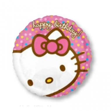 KT圆形铝箔气球 Hello Kitty Happy Birthday [2184002]