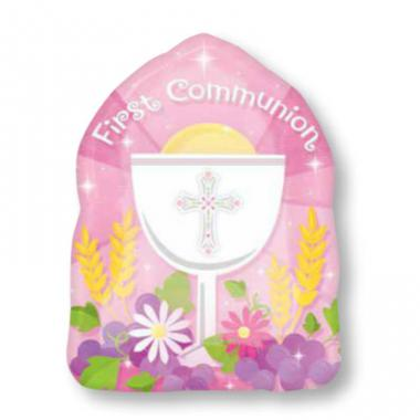 粉红色祝福圣餐铝箔气球 Blessed 1st Communion Pink Junior shape [2472802]